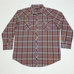 ROPER Pearl Snap Western Button Plaid Shirt